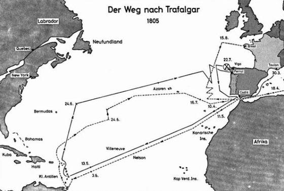 Mapa alemán de Trafalgar.
