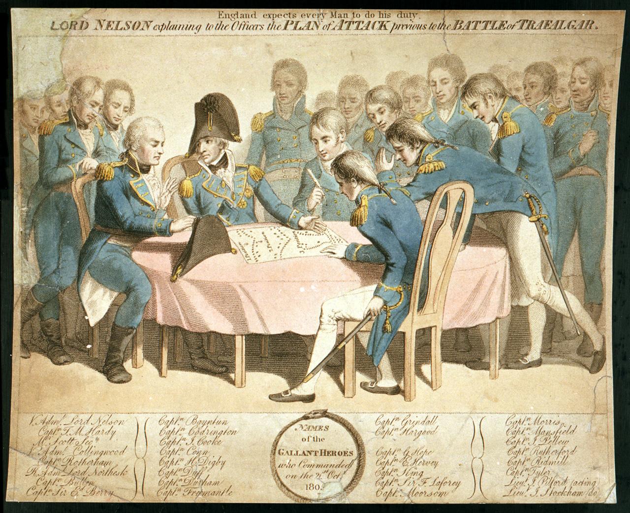 Nelson explica a sus capitanes su Plan de Ataque.
